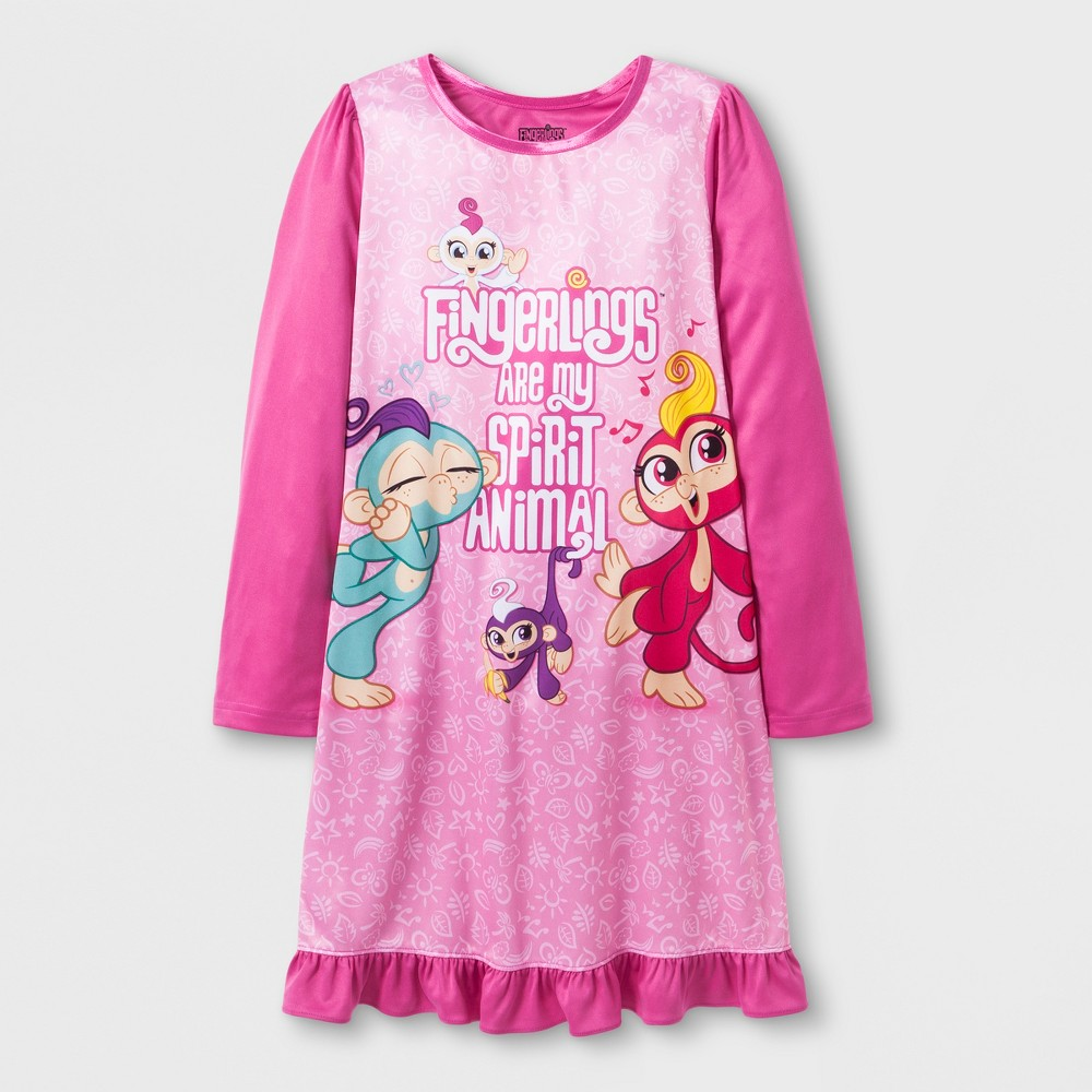 Image of Girls' Fingerlings Dorm Nightgown - Pink 10, Girl's, MultiColored