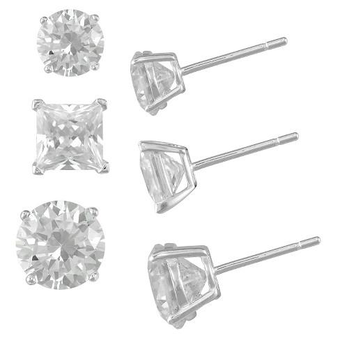 cc9183b16 Women's Sterling Silver Clear Crystal Round Stud Earring Set (3mm, 4mm and  5mm)