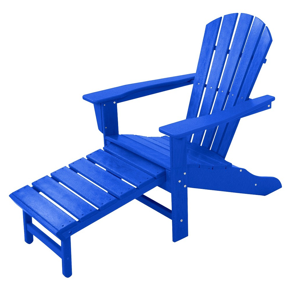 Polywood Palm Coast Adirondack Chair with Pull Out Ottoman - Pacific Blue, Pblue