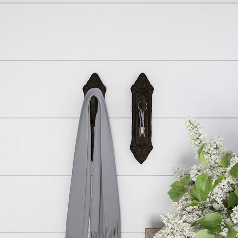 2pc Decorative Key Lock Design Wall Hooks Brown - Lavish Home - image 1 of 3