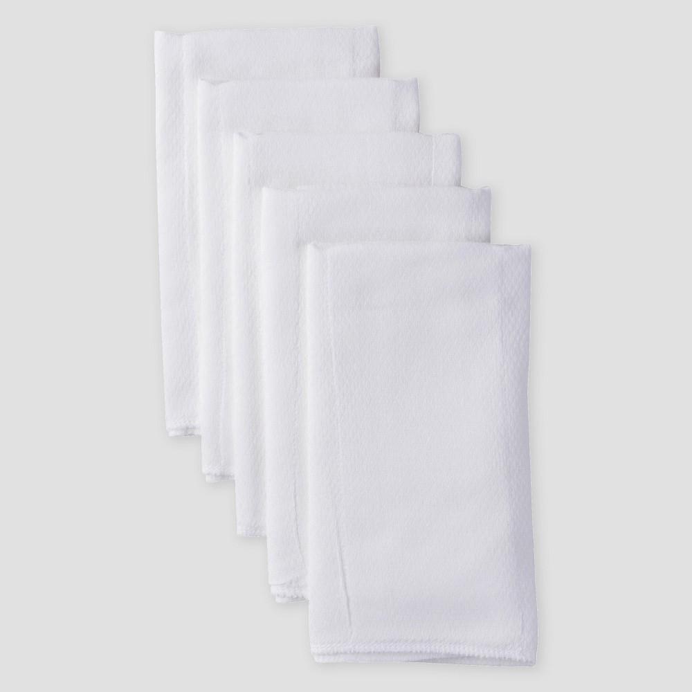 Image of Gerber Baby Organic Cotton 5pk Prefold Birdseye Diaper - White One Size