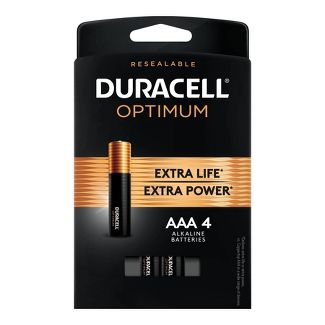 Duracell Optimum AAA Batteries - 4 Pack Alkaline Battery with Resealable Tray