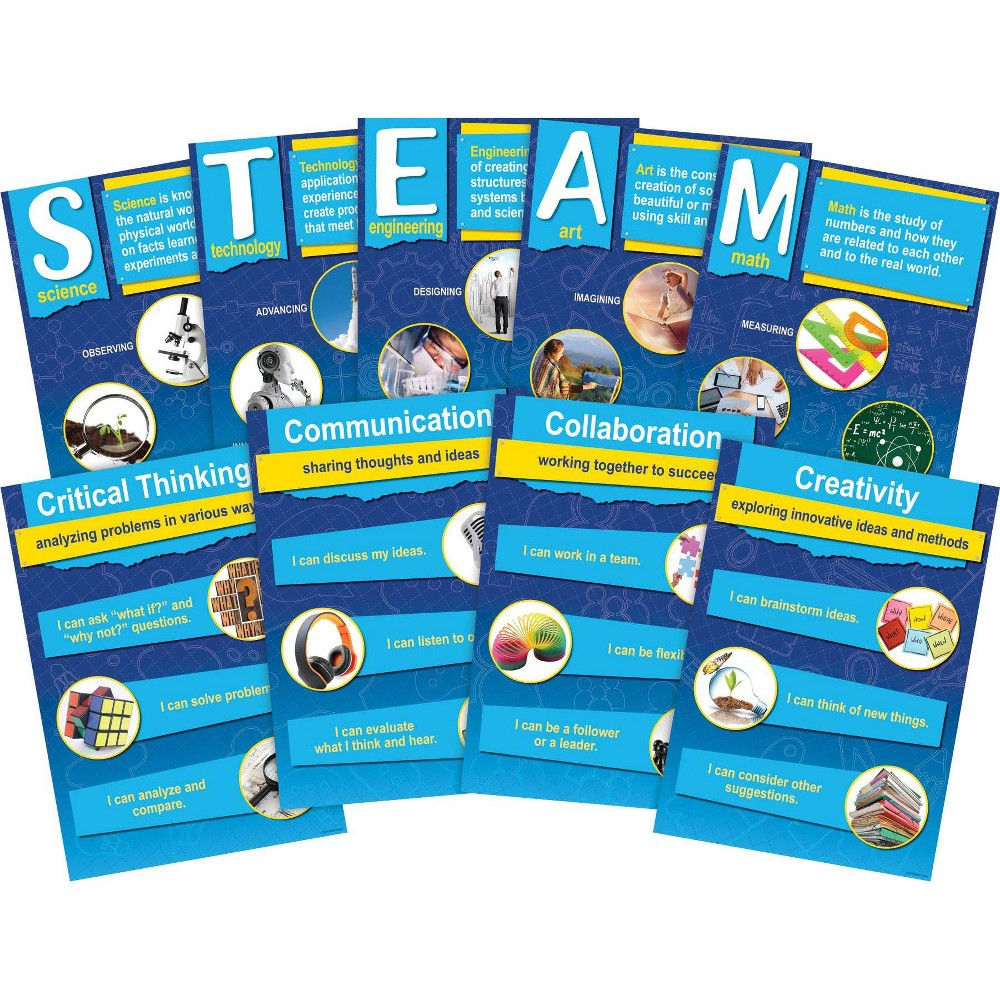 Image of Barker Creek 9pc Stem per Steam Poster Set with 21St Century 4 C Skills