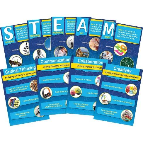 Barker Creek 9pc Stem per Steam Poster Set with 21St Century 4 C Skills - image 1 of 2