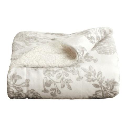 Home Fashion Designs Reversible Sherpa Velvet Plush Twin Blanket Toile Grey Target