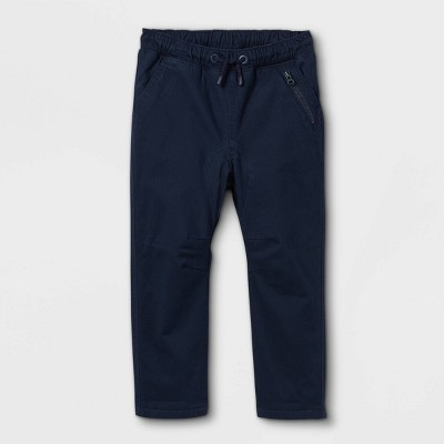 Toddler Boys' Fleece Lined Woven Pull-On Pants - Cat & Jack™ Navy 12M