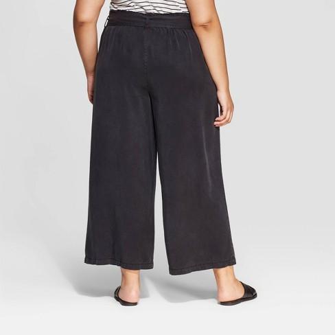 e6216b2da0314 Women s Plus Size Mid-Rise Wide Leg Tie Waist Cropped Pants - Universal  Thread™ Gray 1X   Target