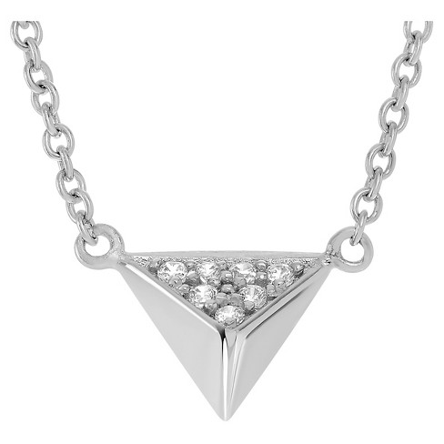 "1/10 CT. T.W. Round-cut CZ Pave Set Triangle Pendant Necklace in Sterling Silver - Silver (18"") - image 1 of 2"