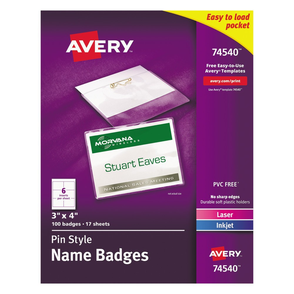 Avery Badge Holder Kit w/Laser/Inkjet Insert, Top Load, 3 x 4, White, 100/Box, Adult Unisex, Size: Small