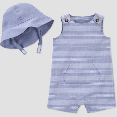 Baby Boys' Chambray Striped Romper with Hat - Just One You® made by carter's Blue 3M