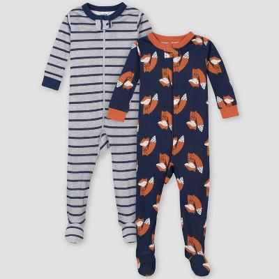Gerber Baby Boys' 2pk Fox Union Suit - Blue