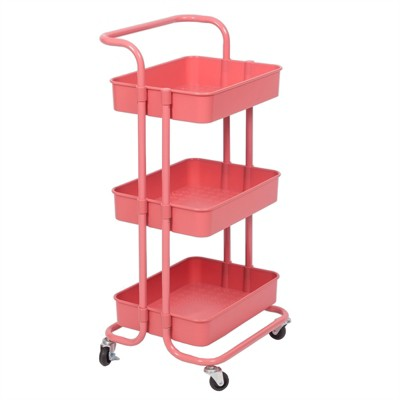 Pemberly Row 3 Tier Mobile Storage Caddy in Hot Pink