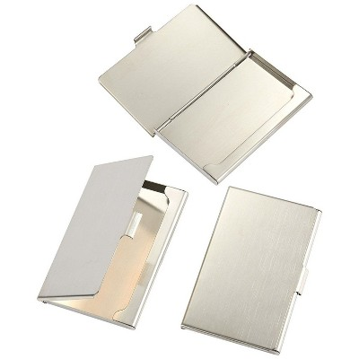 3 Pack Business Card Holders, Stainless Steel Card Case, Professional Name Card Holder for Men and Women, Silver, 3.8 x 2.3 x 0.25 inches