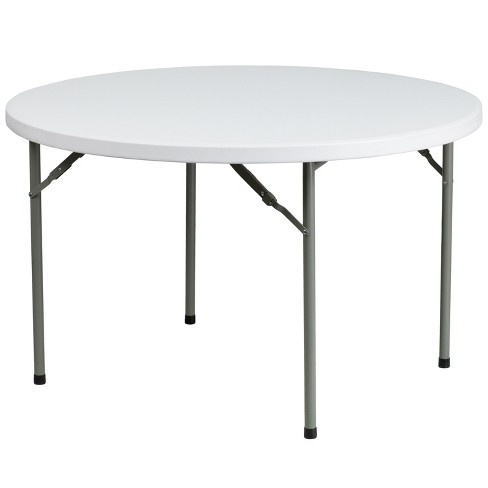 Flash Furniture 4-Foot Round Granite White Plastic Folding Table - image 1 of 3