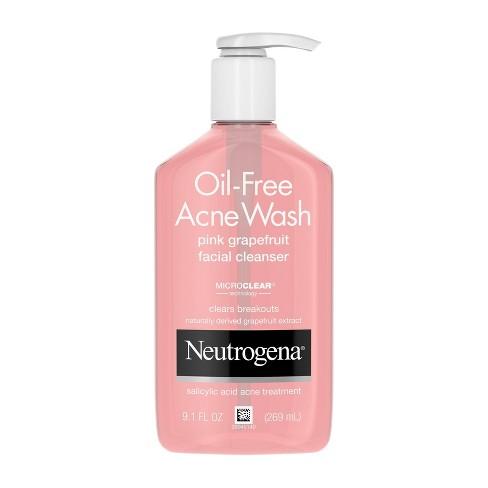 Neutrogena Oil-Free Pink Grapefruit Acne Facial Cleanser - 9.1 fl oz - image 1 of 4
