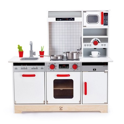 Hape E3145 All In 1 Kids Toddler Wooden Pretend Play Kitchen Set with Oven, Stove, Sink, Microwave, Coffee Maker, Dish Washer, Fridge and Accessories