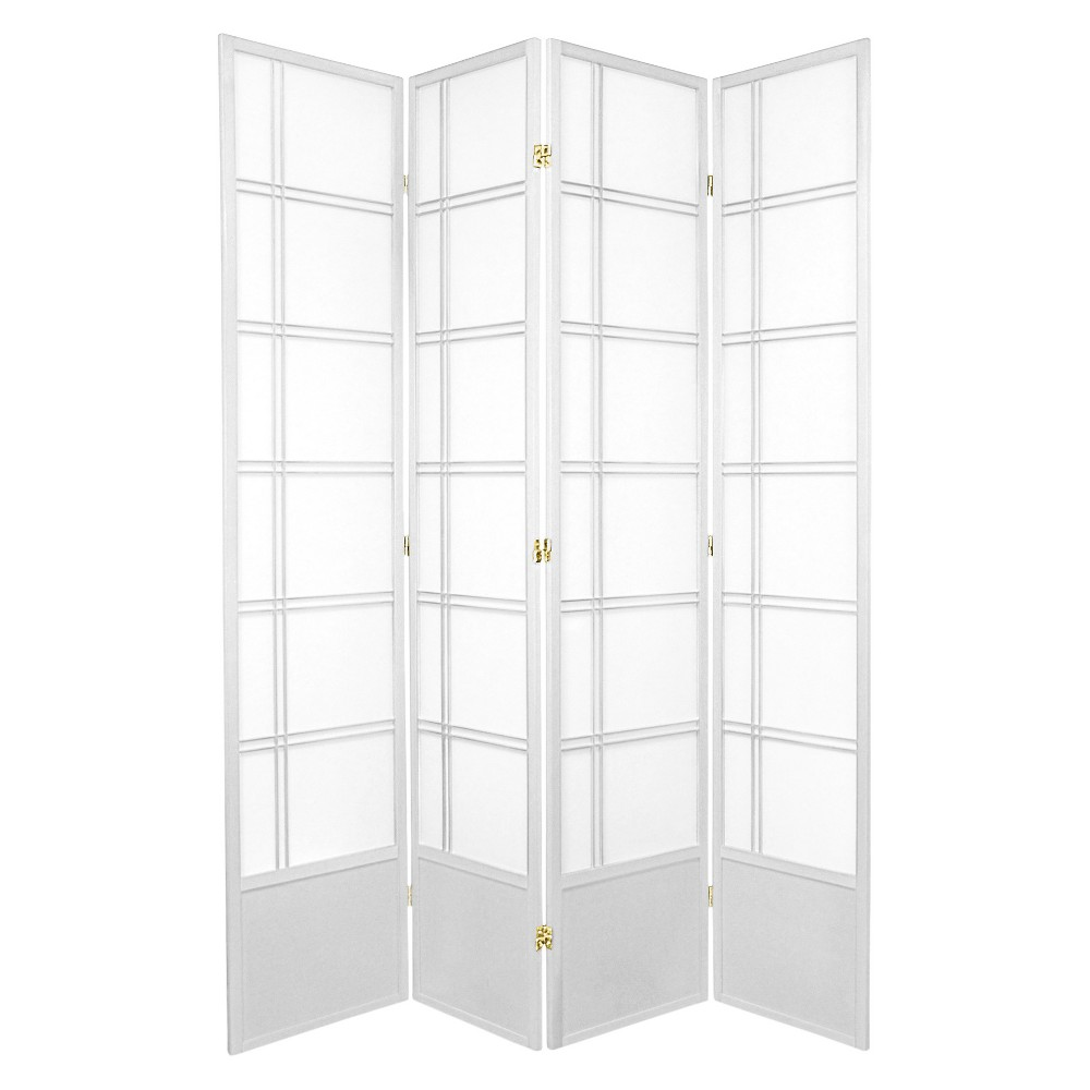 Image of 7 ft. Tall Double Cross Shoji Screen - White (4 Panels)