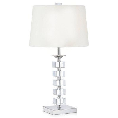 Vienna Full Spectrum Modern Table Lamp Crystal Glass Stacked Cubes White Fabric Tapered Drum Shade for Living Room Family Bedside