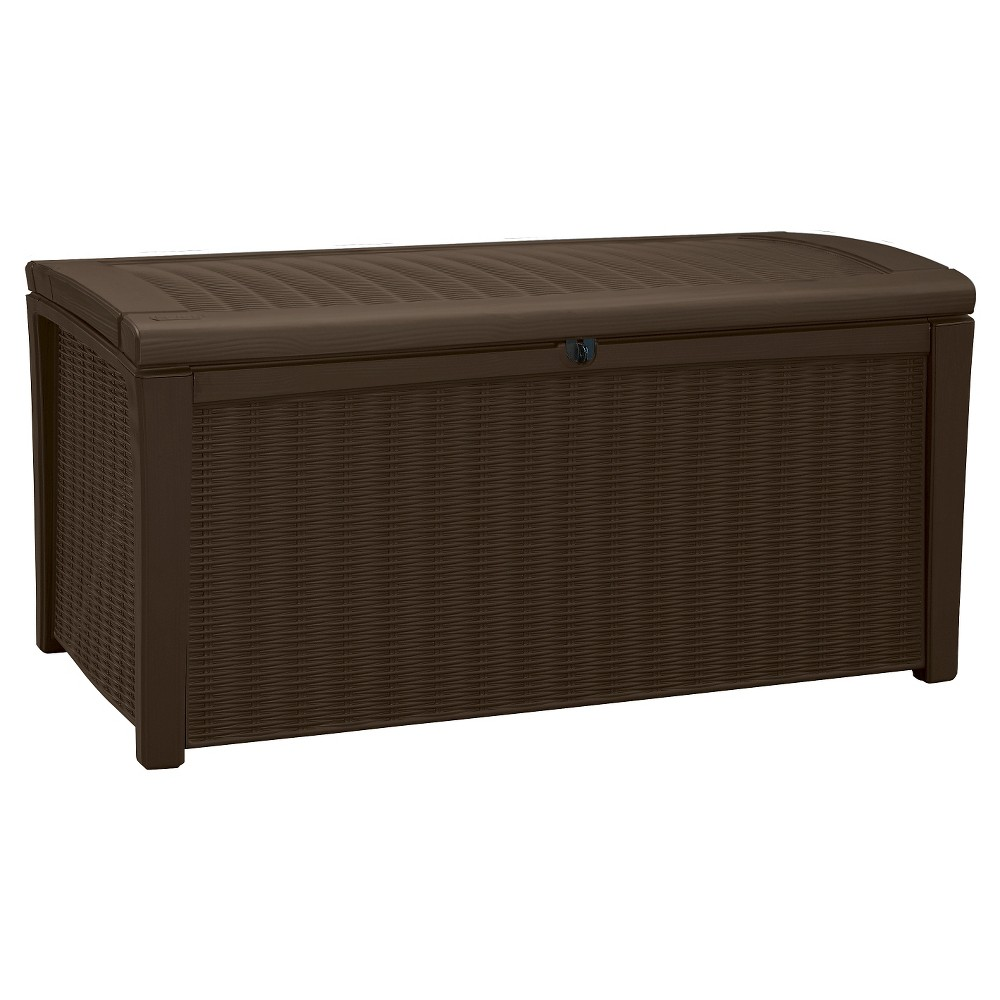 Image of Borneo 110 Gallon Rattan Outdoor Storage Deck Box - Brown - Keter