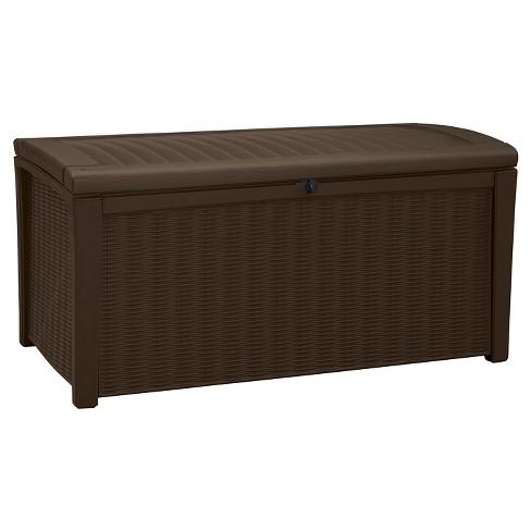 Keter Rattan Style 3 Drawer Cart.Borneo 110 Gallon Rattan Outdoor Storage Deck Box Brown Keter