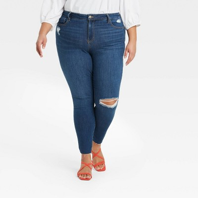 Women's Plus Size Mid-Rise Distressed Skinny Jeans - Ava & Viv™