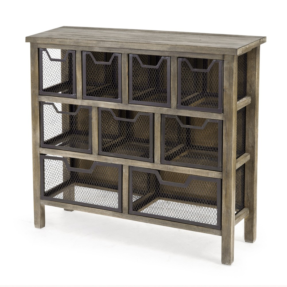 Wells Metal Bin Console Table Gray