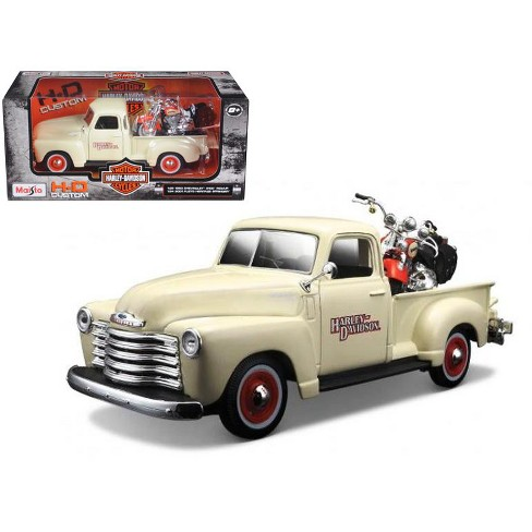 1950 Chevrolet 3100 Pickup Truck Harley Davidson 1/25 With 2001 FLSTS Heritage Springer Motorcycle 1/24 Diecast Model by - image 1 of 1
