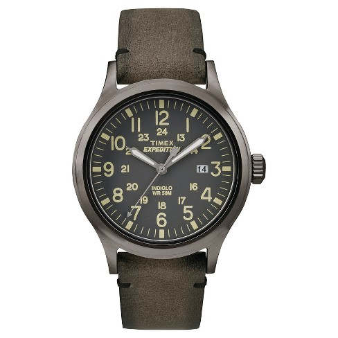 Men's Timex Expedition® Scout Watch with Leather Strap - Gray/Brown TW4B017009J - image 1 of 1