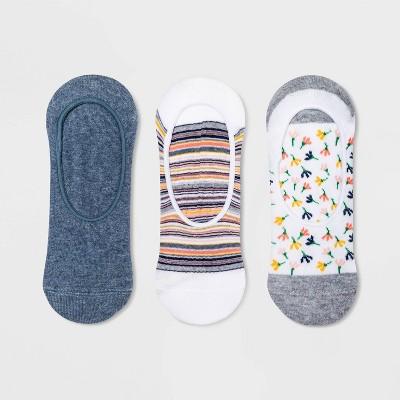 Women's Dandelion 3pk Liner Socks - A New Day™ White/Blue 4-10