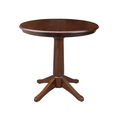 """36"""" Oscar Round Top Pedestal Table Dining Height Espresso - International Concepts"""