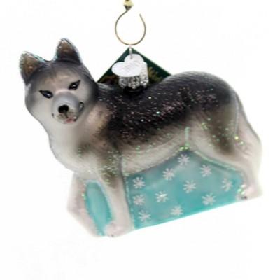 "Old World Christmas 3.5"" Siberian Husky Ornament Dog Blue Eye  -  Tree Ornaments"