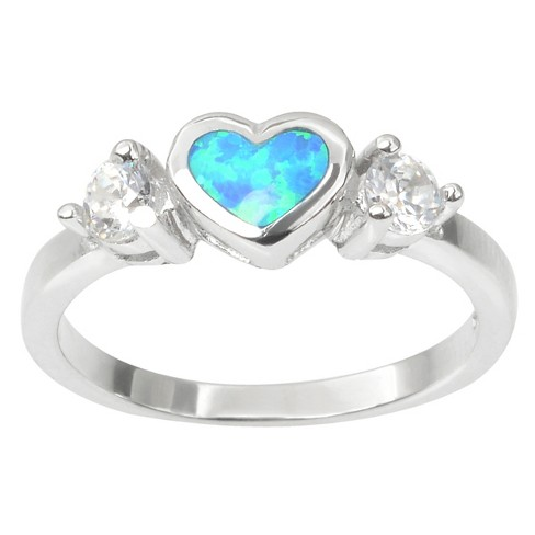 1/3 CT. T.W. Heart-cut Opal Inlaid CZ Heart Ring in Sterling Silver - White - image 1 of 2