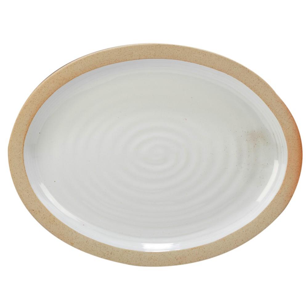 "Image of ""Certified International Artisan Oval Ceramic Serving Platter 16"""" x 12"""" - White/Brown"""