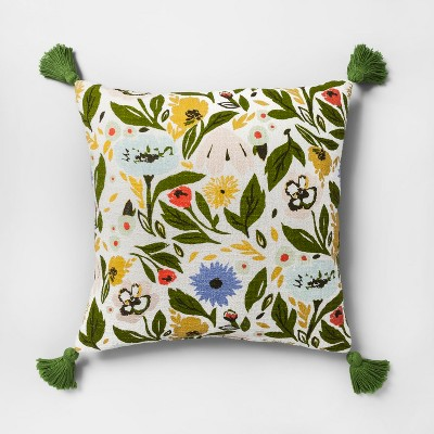 Multi Floral Print Reverse to Velvet Oversize Square Throw Pillow - Opalhouse™
