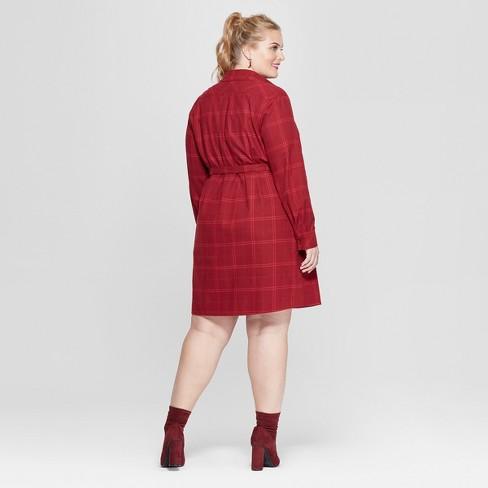 e13bcc68654 Women s Plus Size Plaid Flannel Shirtdress - Ava   Viv™ Red   Target