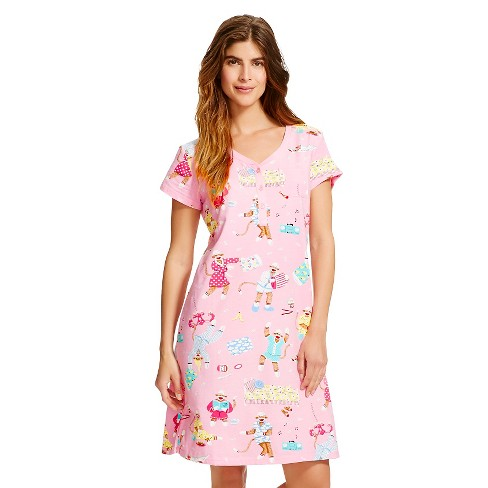 Women's Pajama Party Monkey Nightgown - Nick & Nora® XXL Fresh Bloom - image 1 of 2