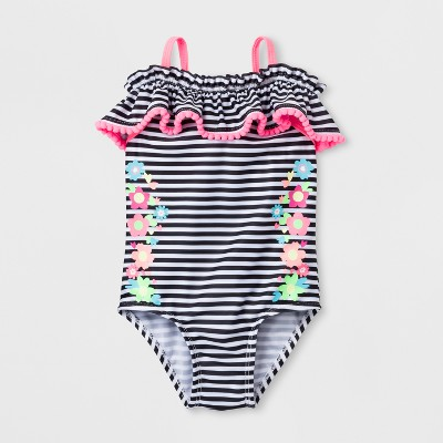 Baby Buns Baby Girls' Striped One Piece Swimsuit - Black/White 12M