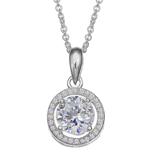 "Women's Cubic Zirconia Halo Pendant in Sterling Silver (18"") - image 1 of 1"