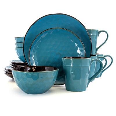 16pc Stoneware Watery Waves Dinnerware Set Blue - Elama