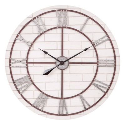 "32"" Rustic Whitewash Wood and Metal Wall Clock Gray/Brown - Patton Wall Decor"