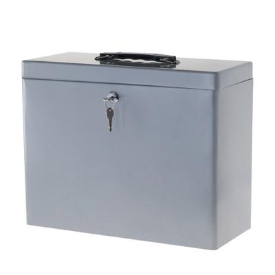 Locking File Storage Box with Handle Gray - Stalwart