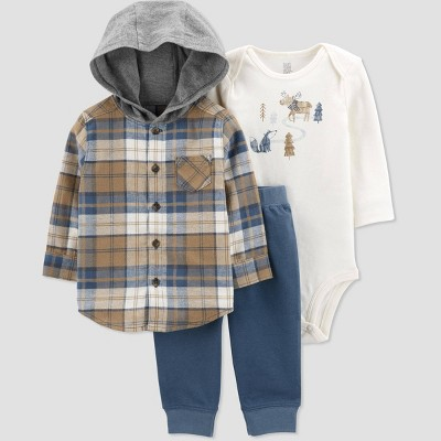 Baby Boys' Plaid Top & Bottom Set - Just One You® made by carter's Brown/Blue 3M