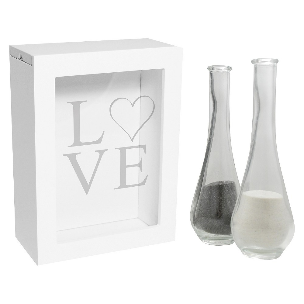 3ct White Modern Love Wedding Sand Ceremony Shadow Box Set