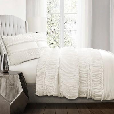 White Nova Ruffle Comforter Set - Lush Décor