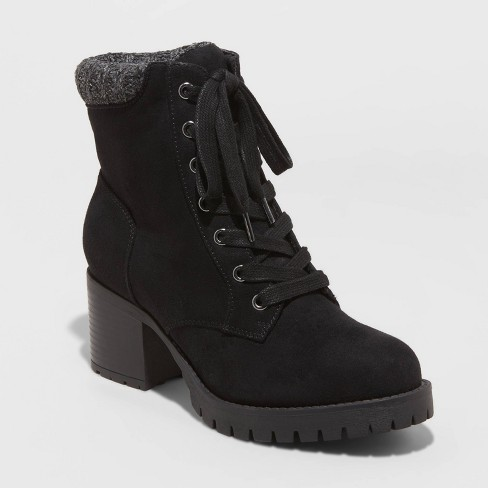 Women's Aveline Microsuede Heeled Lace Up Fashion Boots - Universal Thread™ - image 1 of 3