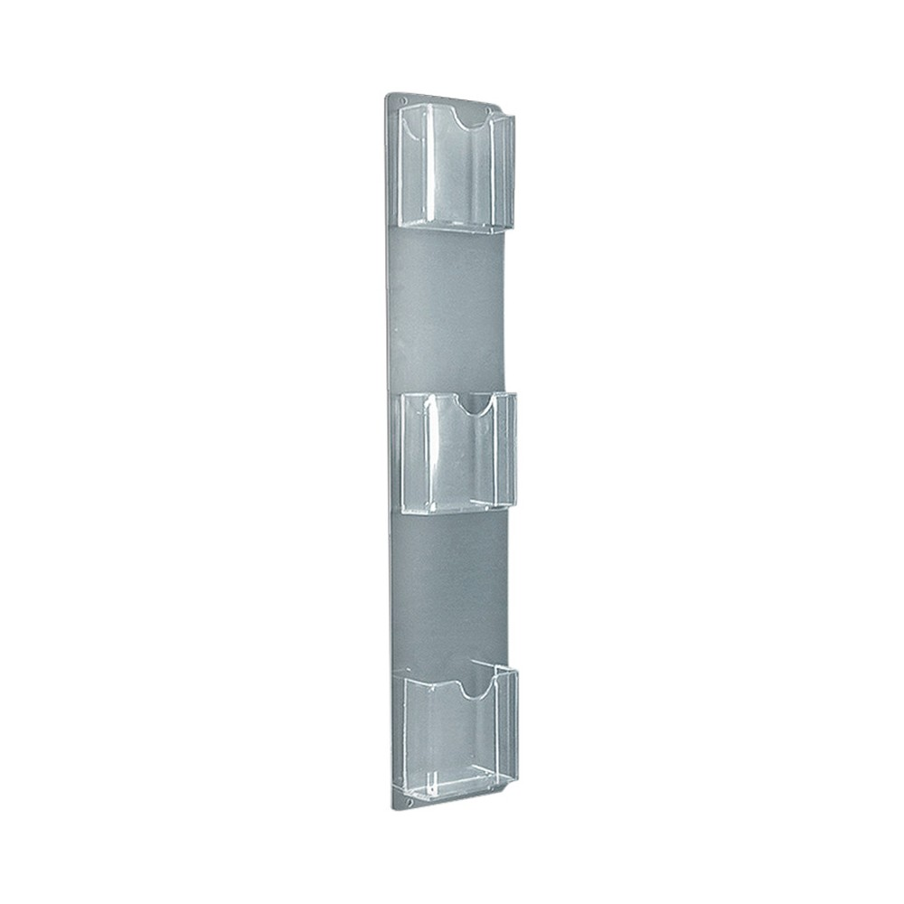 Azar Three-Pocket Vertical Wall Mount Brochure Holder 2ct, Clear