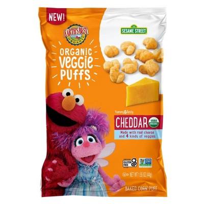 Earth's Best Sesame Street Organic Veggie Cheddar Puffs Baby Snacks - 1.55oz
