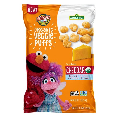 Earth's Best Sesame Street Organic Veggie Cheddar Puffs Baby Snacks - 1.55oz - image 1 of 4