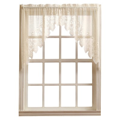 Joy Classic Lace Kitchen Curtain Tier Pair Ivory (30 x24 )- No. 918