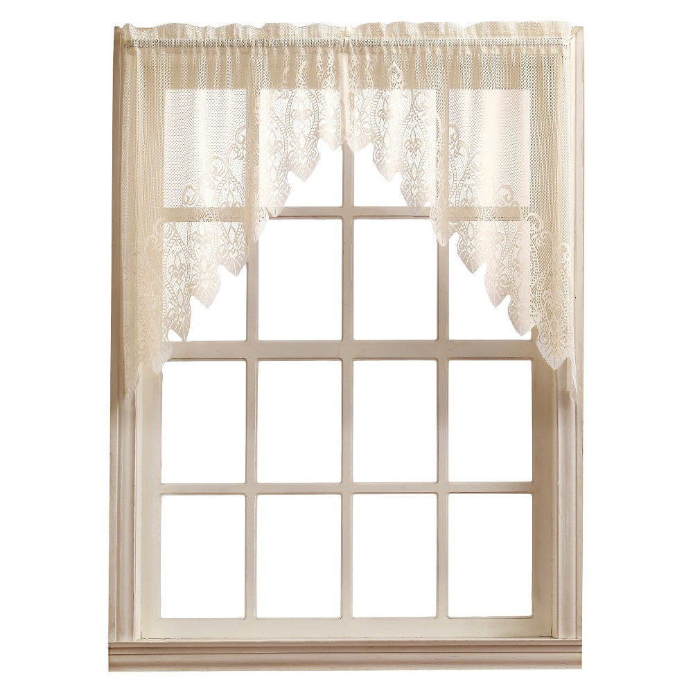 Joy Classic Lace Kitchen Curtain Swag Pair Ivory (30